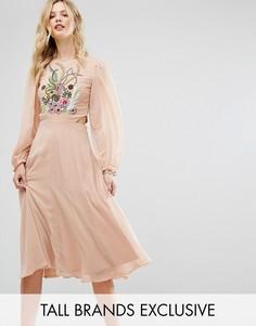 Платье миди премиум с отделкой топа и вырезами Frock And Frill Tall - Розовый