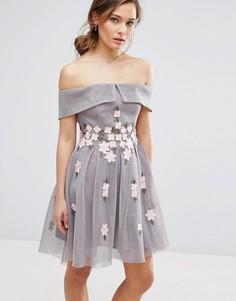 Приталенное платье с открытыми плечами и цветочной аппликацией New Look - Серый