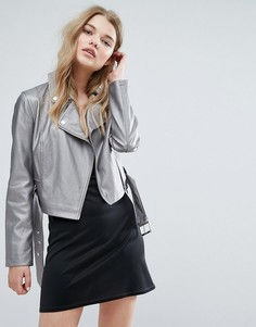 Байкерская куртка из искусственной кожи с эффектом металлик New Look - Серебряный