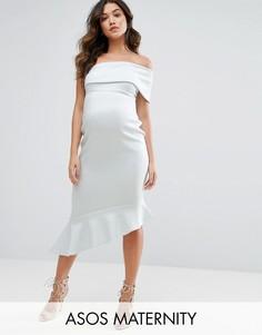 Платье миди на одно плечо с оборкой ASOS Maternity - Синий