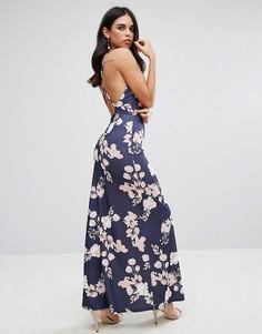 Платье макси с открытой спиной и цветочным принтом Oh My Love - Темно-синий