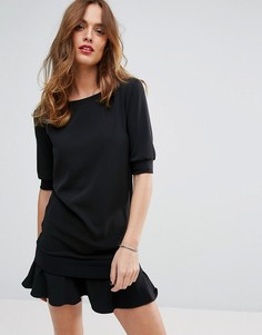 Платье с оборкой по краю Sisley - Черный