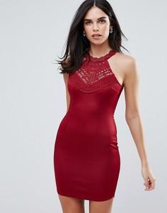 Облегающее платье мини с открытыми плечами Ax Paris - Красный