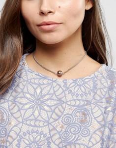 Ожерелье-чокер из цепочки с искусственным жемчугом ASOS - Серебряный