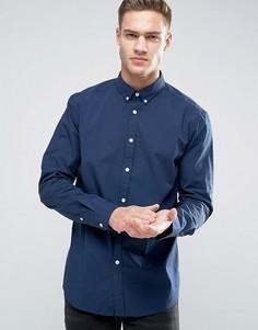 Эластичная рубашка слим из хлопкового поплина Esprit - Темно-синий