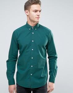 Эластичная рубашка слим из хлопкового поплина Esprit - Зеленый