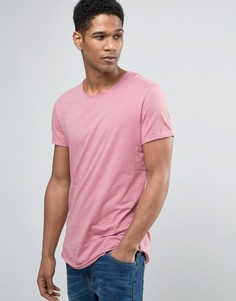Футболка с круглым вырезом и необработанными кромками Esprit - Розовый