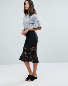 Кружевная юбка с оборкой по низу Glamorous - Черный