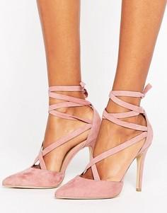 Туфли на каблуке из искусственной замши с острым носком и завязками New Look - Розовый