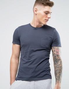 Темно-синяя обтягивающая узкая футболка с карманом Abercrombie & Fitch - Темно-синий