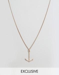 Ожерелье с подвеской-якорем цвета розового золота Simon Carter эксклюзивно для ASOS - Золотой