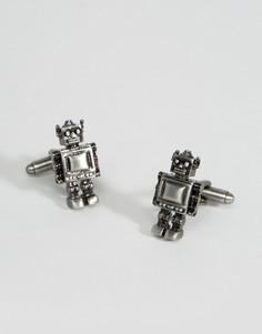 Серо-бронзовые запонки Simon Carter Robot - Серебряный