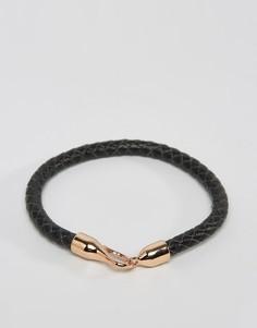 Черный кожаный браслет Simon Carter - Черный