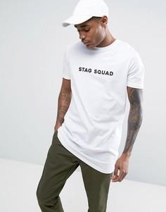 Супердлинная футболка с принтом Stag Squad ASOS - Белый