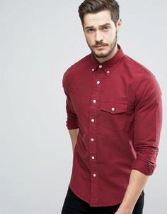 Бордовая обтягивающая рубашка на пуговицах с вышивкой Abercrombie & Fitch - Красный