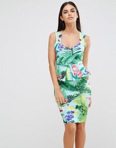 Платье-футляр без рукавов с тропическим принтом и баской Vesper - Зеленый