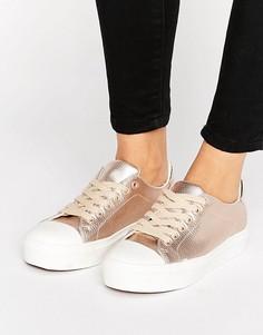 Кеды на шнуровке с мягким носком и эффектом металлик Blink - Медный