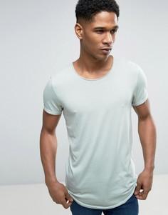 Длинная футболка с необработанным асимметричным краем Esprit - Зеленый