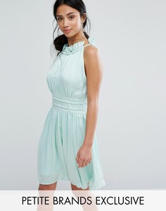 Короткое приталенное платье со сборками Little Mistress Petite - Зеленый