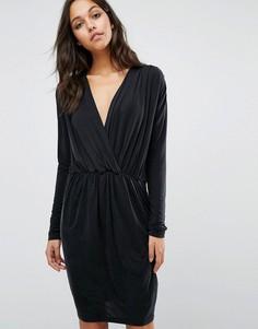 Платье с V-образным вырезом горловины Samsoe & Samsoe - Черный
