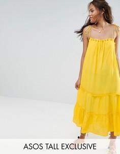 Ярусное платье миди на тонких бретельках ASOS TALL - Желтый