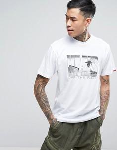 Белая футболка с принтом Vans VA313CWHT - Белый