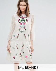 Платье из сеточки в горошек с цветочной вышивкой Y.A.S Tall Molia - Белый