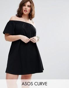 Свободное платье мини на одно плечо ASOS CURVE - Черный