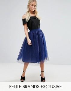 Пышная юбка миди для выпускного с искусственным жемчугом Little Mistress Petite - Темно-синий