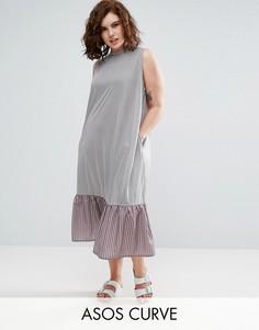Платье миди в полоску с контрастной оборкой ASOS CURVE - Мульти