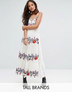 Платье миди на бретельках с цветочной вышивкой Glamorous Tall - Мульти