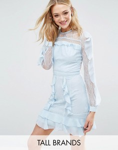 Кружевное платье с длинными рукавами и оборками True Decadence Tall - Синий