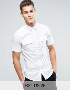 Рубашка скинни с короткими рукавами в стиле милитари Only & Sons - Белый