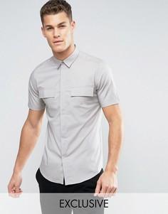 Рубашка скинни с короткими рукавами в стиле милитари Only & Sons - Серый
