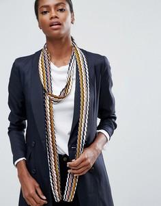 Длинный узкий шарф с принтом в стиле 70-х ASOS - Черный