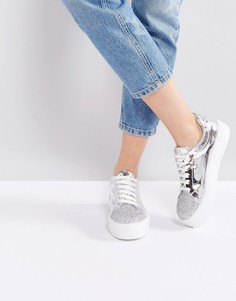 Кроссовки на шнуровке ASOS DAZZLE - Серебряный