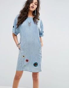 Джинсовое платье с люверсами Diesel - Синий