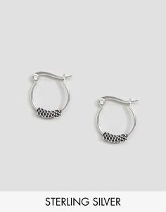 Серебряные серьги-кольца 14 мм с цепочками ASOS - Серебряный