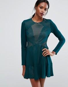 Платье мини со вставками BCBGMAXAZRIA - Зеленый