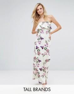 Платье-бандо макси с рюшами и цветочным принтом Oh My Love Tall - Белый