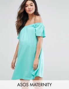 Платье мини для беременных с открытыми плечами ASOS Maternity - Зеленый