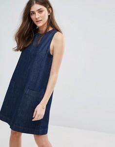 Джинсовое цельнокройное платье с карманами Jack Wills - Темно-синий
