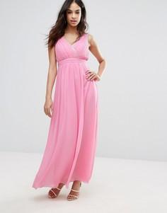 Платье макси с запахом и отделкой Little Mistress - Розовый