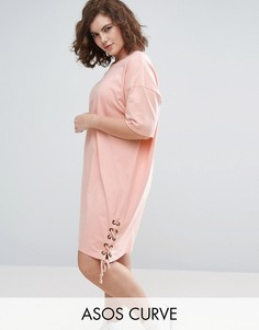 Платье-футболка со шнуровкой по бокам ASOS CURVE - Розовый