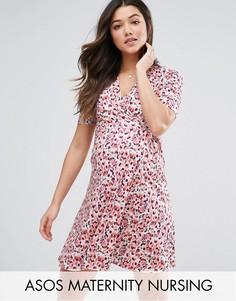 Платье с запахом и принтом ASOS Maternity NURSING - Мульти