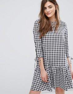 Свободное платье в клеточку с заниженной талией New Look - Черный