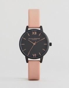Часы с черным циферблатом и розовым кожаным ремешком Olivia Burton After Dark - Розовый