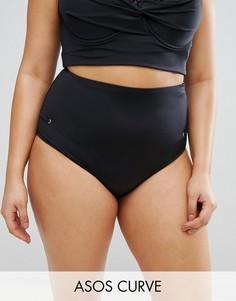 Комбинируемые плавки бикини с люверсами ASOS CURVE - Черный
