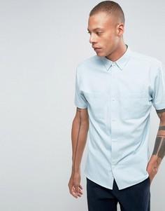 Рубашка классического кроя из выбеленного денима Bellfield - Синий