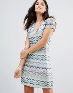 Платье миди в полоску с короткими рукавами Traffic People - Синий